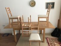 IKEA Wooden Dining Table (Extendable) + 4 Cushioned Wooden Chairs