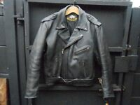 vintage black leather motorcycle jacket by buffalo.heavy duty leather.size uk 46 euro 56.