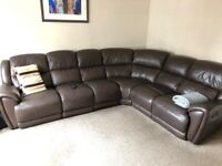 CORNER LEATHER RECLINING SOFA (6 SEATER) - EXCELLENT CONDITION