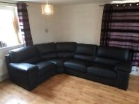 Black Italian Leather Corner Sofa