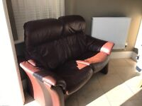 Fjord brown leather 2 seater sofa with stool