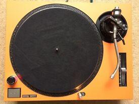 Technics SL-1210 MK2 Turntable With Custom Matte Orange Cover
