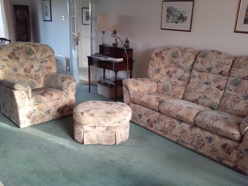 3 Piece G Plan Sofa, chair and pouffe, excellent condition
