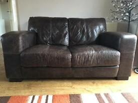 DFS Caesar dark brown real leather 2 seater sofa