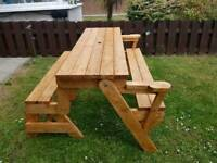 2 in 1 Folding picnic table and bench seat.
