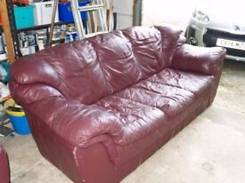 2 seater and 3 seater Red leather sofas.