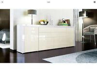 Sideboard cabinet with chest of drawers in gloss white