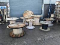 Cable reels drums various sizes from 600mm to 1700mm diameter for up cycle into tables or displays