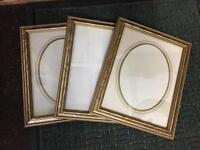 "3 decorative frames with glass and backs - 10""x 8"" aperture"