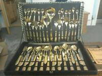 Gold plated cutlery set in original box