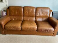 Leather settee & chair.