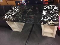 IKEA Desk Glass Floral Top & White Bookshelf Basses