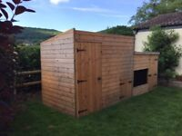 Garden Shed with built in dog kennel and run