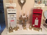 Wedding vintage postboxes and vintage ladders and chocolate heart stands for hire only