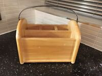 Quality Wooden Solid Oak Caddy with polished Stainless Steel Handle