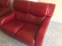 3 piece Red leather sofa