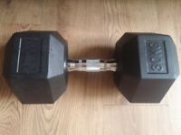 Best Price! Brand New Not Used High Quality 30Kg Single Rubberized Hexa Dumbbell