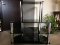 Glass Topped Television Table Plus Small Glass Table