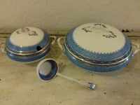 Blue and white bristol tureens with serving spoon