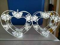 2 heart shaped tealight holders