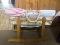 Girls moses basket and rocking stand