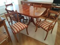 Yew Extendable Dining Room Table with 8 chairs