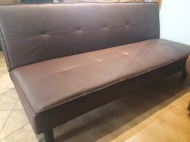Brown Leather Effect Sofa Bed / Futon - as new condition