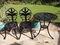 GARDEN / PATIO SET - TABLE AND 2 CHAIRS - CAST ALUMINIUM