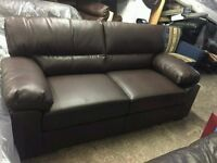 Brown Leather ex display 3 seater sofa