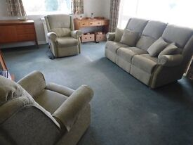 Three Seater Sofa with matching Armchair and Riser Recliner Electrically Operated Armchair