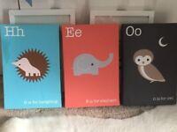 Canvas print - picture - Animal Alphabet (owl / elephant / hedgehog)