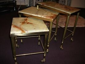 Vintage/ Retro Onyx Top nest of table on castors and brass legs & skirting