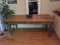 Pine refectory table made of reclaimed pine, with three useful drawers, seats 6 - 8