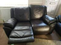 Two-seater recliner with three seater leather settee