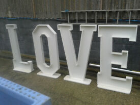4ft wedding love letters unpainted for flowers or lights. FOR SALE£225