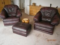 3 piece leather suite Ox blood colour with foot stool