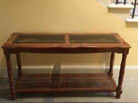 Beautiful wood and glass console table