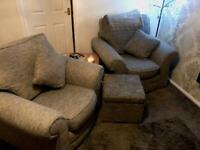 Two armchairs and footstool