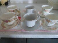 Tea Set 6 Cups and Saucers -Mismatch Vintage Wedding?