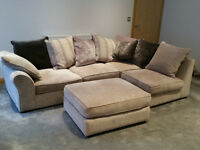 Modern corner unit sofa with large pouffe - as new.
