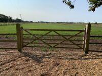 12 ft, 5 bar wooden gate