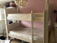 Solid wood white bunk beds / twin beds great condition.