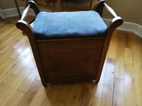 Vintage piano stool with storage