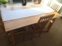 Solid quality pine dining table and 4 chairs