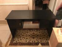 Black desk with lockable cupboard