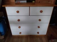 Set of white and pine drawers