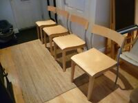 Set of 4 modern wooden chairs from Ikea, vgc