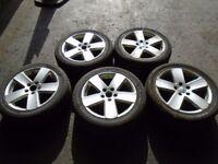 """2008 VW PASSAT B6 SPORT 5 SPOKE 17"""" ALLOYS ALLOY WHEELS & TYRES 3C0601025E #5032"""