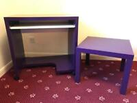 Matching Purple Desk and Ikea Lack Table