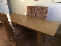 Solid limed oak dining table with 6 chairs by Julian Chichester